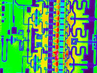芯片晶圆热分布,对于微观器件,真实热分布由于微观器件包含多种发射率不同的材料,需要像素级发射率校正